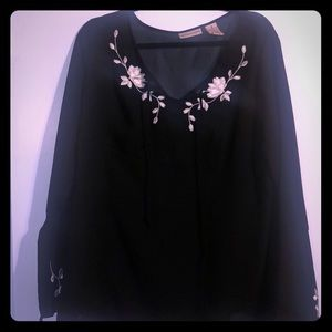 Black Sheer Classic Top with white Flowers